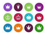 Crown circle icons on white background.