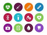 Medical circle icons on white background.