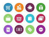 Shopping circle icons on white background.