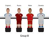 Table football game. foosball soccer player set. England, Russia, Wales, Slovakia