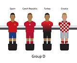 Table football game. foosball soccer player set. Spain, Czech Republic, Turkey, Croatia