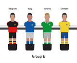 Table football game. foosball soccer player set. Belgium, Italy, Ireland, Sweden