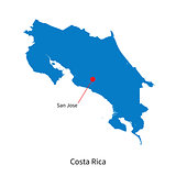 Vector map of Costa Rica and capital city San Jose