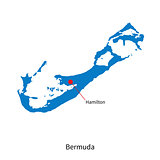 Detailed vector map of Bermuda and capital city Hamilton