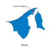 Vector map of Brunei and capital city Bandar Seri Begawan
