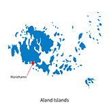 Detailed vector map of Aland Islands and capital city Mariehamn
