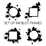 set of ink blot frames on white background