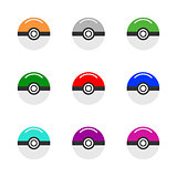 Vector game balls for play in team. Pokeball object