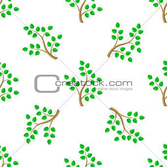 Green Cartoon Tree Leaves Seamless Background