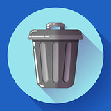 Trash can icon Recycle Bin Garbage Flat Vector Illustration