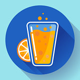 Flat ice tea drink icon. Orange juice glass