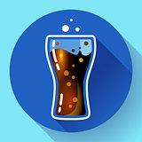 Cola splash or soda glass with bubbles icon flat