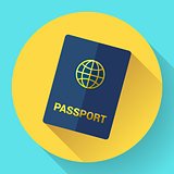 Vector blue international passport with globe.