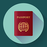 Red leather Passport icon. Flat design style. Vector illustration