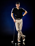 man  golfer golfing isolated