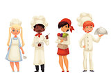 Isolated cartoon children chefs in hats and uniform