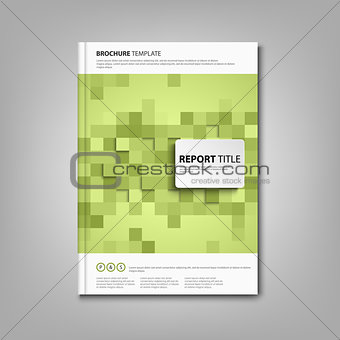 Brochures book or flyer with green square abstract mosaic
