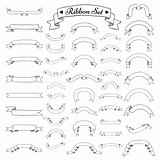 Vector Black Outlined Hand Drawn Ribbons, Banners Set