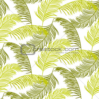 Green palm leaves seamless vector pattern.