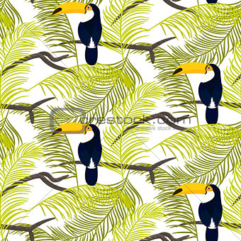 Green palm leaves and toucan bird seamless vector pattern.