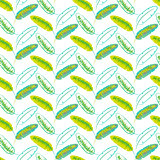 Green banana palm leaves seamless vector pattern.