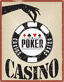 Vintage card with a poker chip