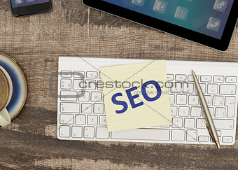 Adhesive notes with SEO message