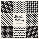 Vector Seamless Hand Drawn Wavy Lines Patterns Collection