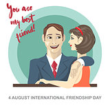Happy friendship day card. 4 August.