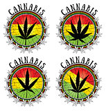 cannabis leaf design jamaican flag background