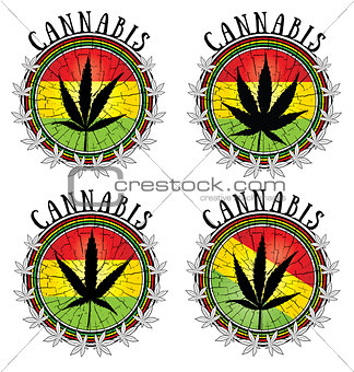 cannabis leaf design jamaican flag background