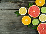Fruit on rustic wood background