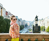 Woman standing near National Museum at Wenceslas Square, Prague