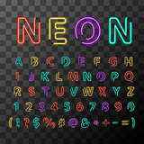Colorful realistic neon letters, full latin alphabet on transparent background