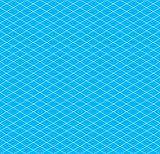 White isometric grid on cyan, seamless pattern