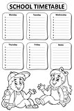 Black and white school timetable theme 4