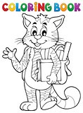 Coloring book school cat theme 1