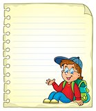 Notebook page with schoolboy