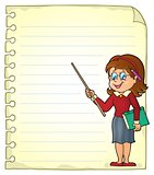 Notebook page with woman teacher