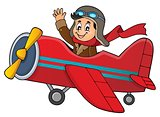 Pilot in retro airplane theme image 1