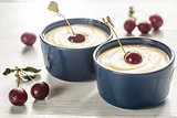 Custard with cherries