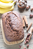 Loaf of banana-chocolate bread with chocolate cream