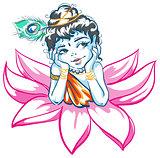 God Krishna in Lotus flower