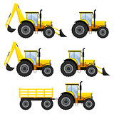 Set of vehicles and tractors.