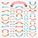 Vector Colorful Hand Drawn Ribbons, Banners Set