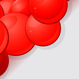 Glossy red 3D spheres background