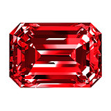 Ruby Emerald Over White Background
