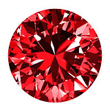 Ruby Round Over White Background
