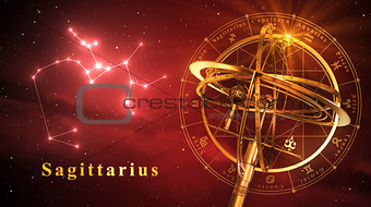 Armillary Sphere And Constellation Sagittarius Over Red Background