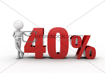 3D character with 40% discount sign